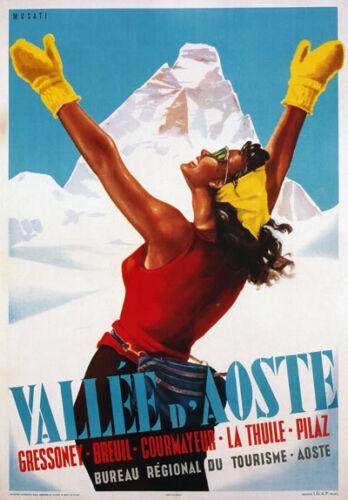 Tv04 Vintage 1950/'s Italian Italia Vallee de Aosta viajar Cartel A2 A3