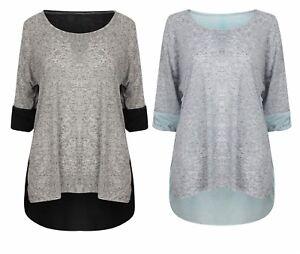Ladies-Top-T-Shirt-Tee-3-4-Sleeve-Blouse-Womens-New-Denim-Brown-Black-Sheer-Back
