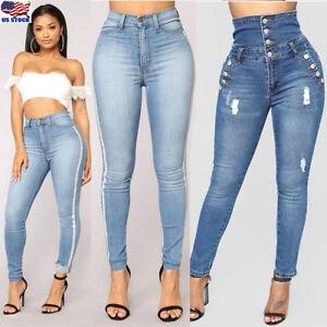 b535744838 PLUS SIZE Women Leggings Skinny High Waist Jeans Trousers Denim ...