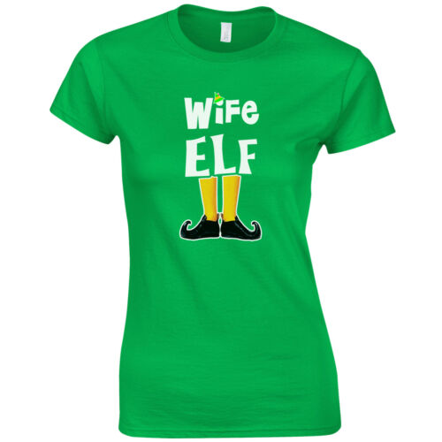 Funny Cute Christmas Pyjama PJ/'s Gift Top Elf Family Ladies Fitted T-Shirt