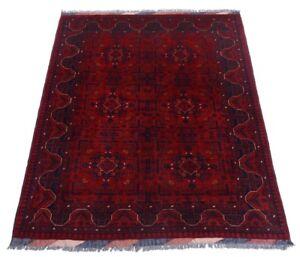 Afghan-Khal-Mohammadi-194-x-150-cm-Handgeknuepfter-Orientteppich-dunkel-rot