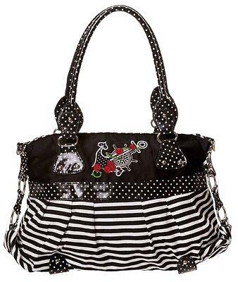 Anchor ROSE Sailor Nautical Handbag by Banned Shoulder Polka Dot White Stripe