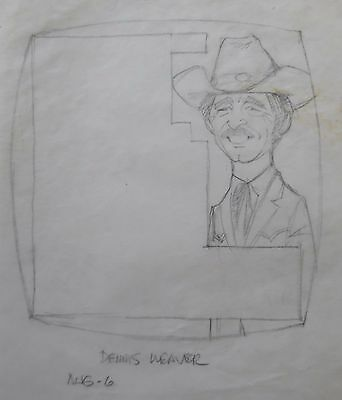 Art Pencil Drawing Dennis Weaver Actor Mccloud Tv Series Akd111 Driving A Roaring Trade Able Al Kilgore Orig