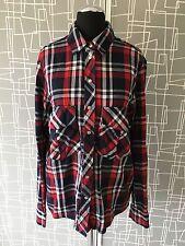 Zara Women Premium Denim Collection Plaid Check Shirt Small S Grunge 8