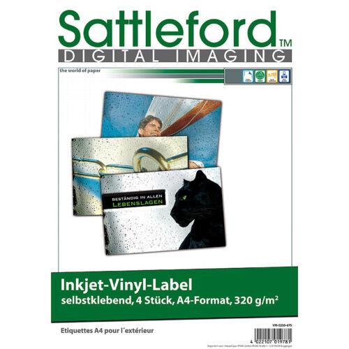 DIN A4 Sattleford 4 Vinyl-Klebefolien für Inkjet-Drucker weiß wetterfest
