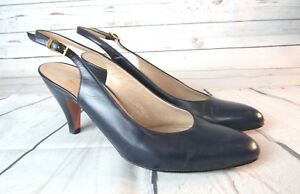 Salvatore-Ferragamo-Sling-Back-Pumps-Heels-Womens-Navy-Blue-Shoes-Size-8-AA