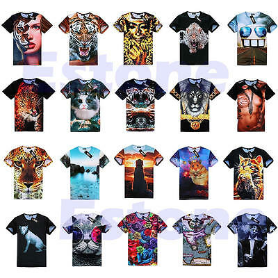 Men Women 3D Skull Animal Ethnic Hamburger Space Galaxy Round Top Tee T Shirt