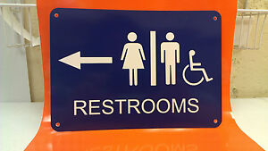 Men Women Handicap Restroom 10in X 7in Polystyrene Sign Arrow Right or Left