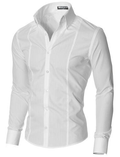 Mens Slim Fit High Collar Dress Shirt MSSF501