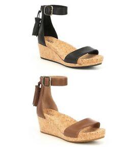 f3abff7c7165 UGG Brand Women s Shoes Zoe Sandals Wedge Heels Black Chestnut New ...