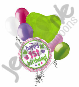 Details about 7 pc 1st Birthday Stripes & Butterflies Balloon Bouquet Happy  Girl Lime Pink