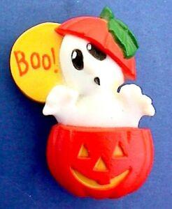 Hallmark-PIN-Halloween-Vintage-GHOST-Full-Moon-JOL-PUMPKIN-Holiday-Brooch