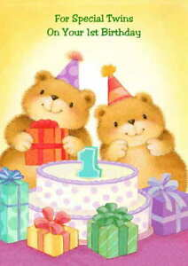 Twins 1st birthday greeting card personalised optional ebay twins 1st birthday greeting card personalised optional m4hsunfo