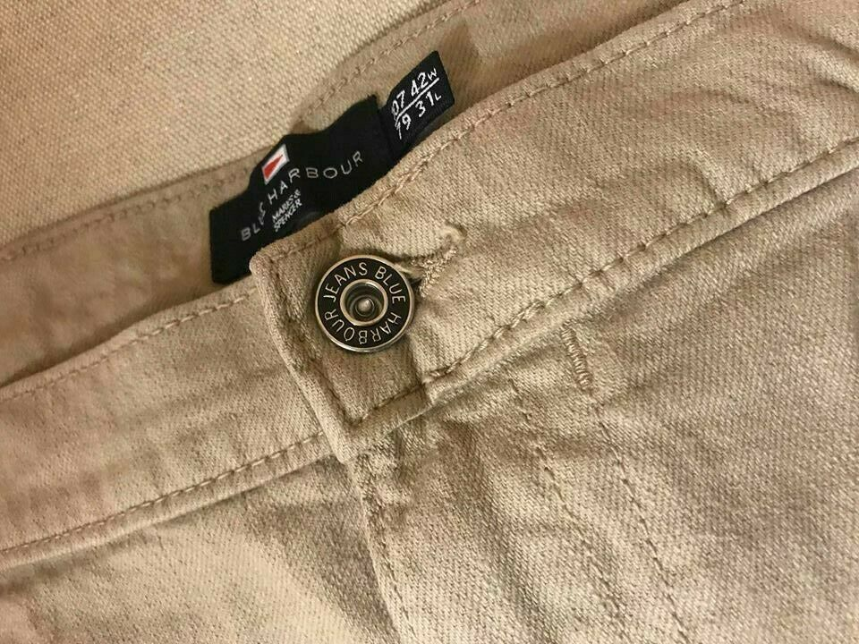 M/&S BLUE HARBOUR JEANS REGULAR FIT W42 L31 COTTON WITH STRETCH TAUPE MENSWEAR