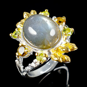 Handmade-Natural-Labradorite-925-Sterling-Silver-Ring-Size-8-5-R102650