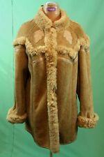 Schöner Lamm-Fell Mantel ca 46/XL Damen braun hippie vom Kürschner vintage Leder