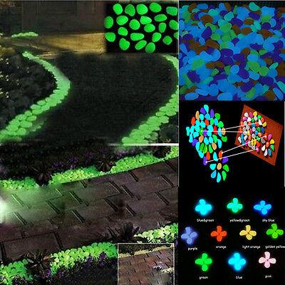 100pcs Leuchtsteine Leuchtkiesel leuchtende Garten Deko Kiesel Nachtleuchtend