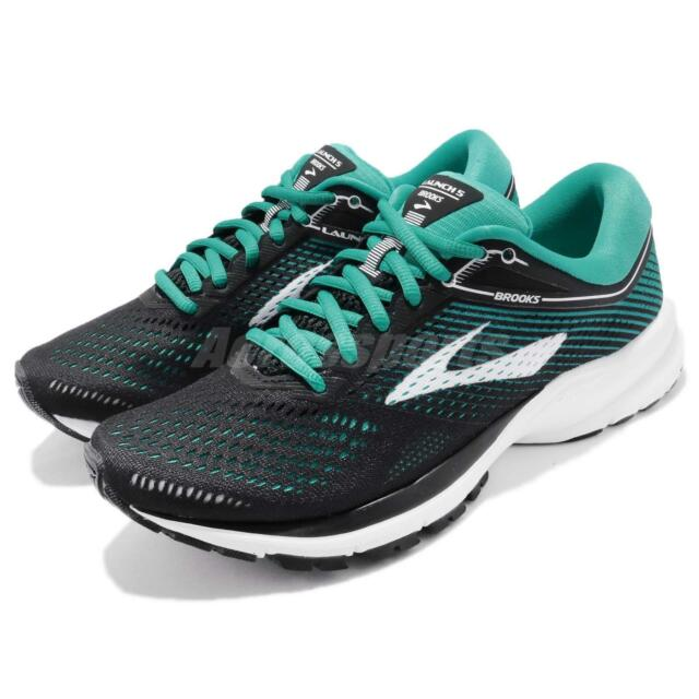 e97d721ed79 Brooks Launch 5 B V Black Teal Green Women Running Shoes Sneakers 1202661 B
