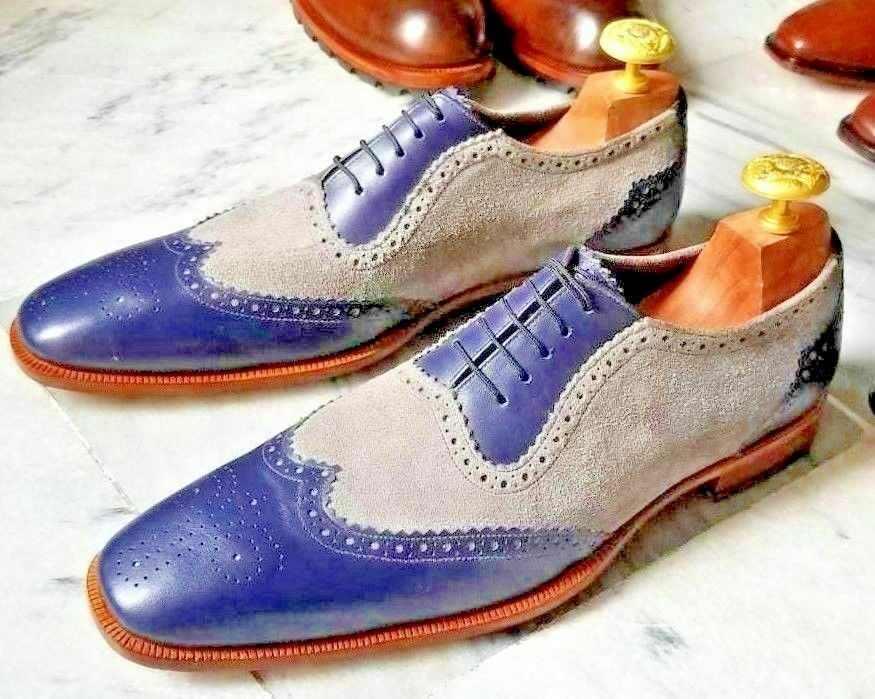 Handmade Herren Echtes Blaues Leder & Grau Wildleder Oxford Brogue Schuhe