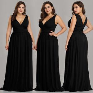 Details about Ever-Pretty US Plus Size Long Party Dresses Long V-neck Black  Formal Gown 09016