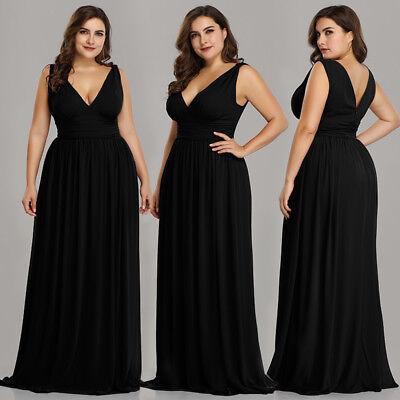 Ever-Pretty US Plus Size Long Party Dresses Long V-neck Black Formal Gown  09016   eBay
