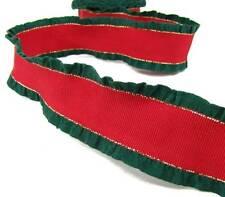 "1 Yd RARE Christmas Red Green Gold Double Ruffle Grosgrain Ribbon 1 1/2""W"