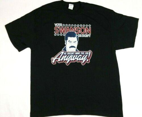 VOTE RON SWANSON Adult T-Shirt Exta Large XL Black