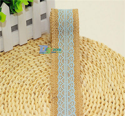 5CM x 2M Wedding Burlap Garland Jute Lace Party Natural Hessian Ribbon Craft New
