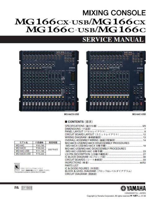 yamaha mg166cx mg166c mixing console service manual and repair guide rh ebay com Yamaha MG166CX Manual PDF Yamaha MG166CX USB
