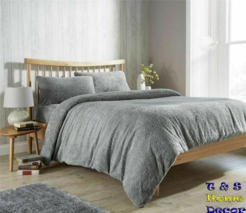 Fleece Duvet Teddy Bear Cover Set Sherpa Thermal Warm Cosy Soft Bedding