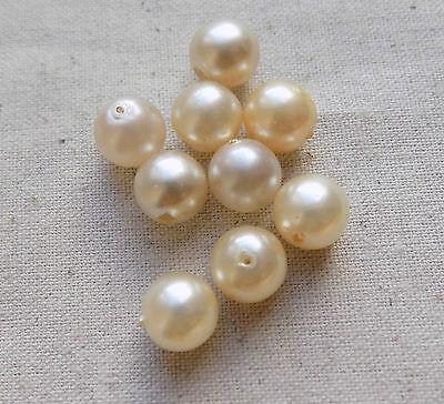 20 Vintage German Lustella Glass Pearls 10 mm