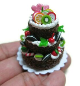 Chocolate Fruit Cake Dollhouse Miniatures Food Deco Bakery