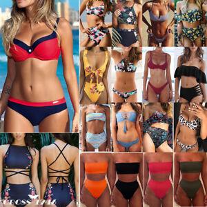 5f1019baf1b Womens Bikini Set Bandage Push-Up Padded Swimwear Swimsuit Triangle ...