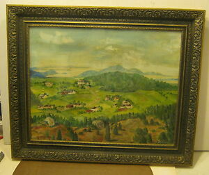 Details About Wonderful Americana Landscape Painting Oil On Canvas Paper Signed Storch