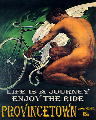 POSTER ENJOY THE RIDE BIG FISH PROVINCETOWN BEACH TRAVEL VINTAGE REPRO FREE S//H