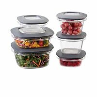 Rubbermaid Premier Food Storage Containers 12-Piece Set Grey Free Shipping