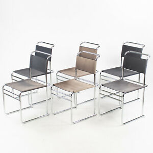 Set Of 6 Marcel Breuer B5 Dining Chairs Chrome Canvas Bauhaus Tecta Thonet 1960s Ebay