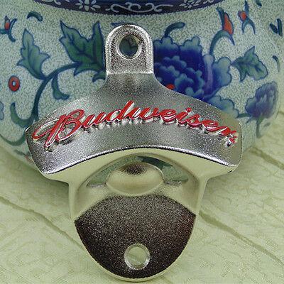 bottle opener beer open bottle here mounted Red//silver BUDWEISER wall mount