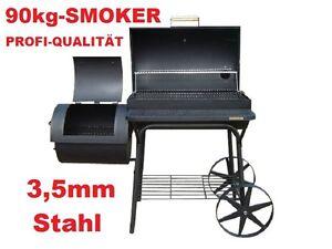 PROFI-XXL-90kg-Smoker-BBQ-GRILLWAGEN-Holzkohle-Grill-Grillkamin-3-5-mm-Stahl