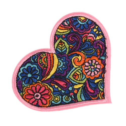 Colorful Flower Heart Embroidered Sew On Iron On Patch Badge Bag Fabric//FO