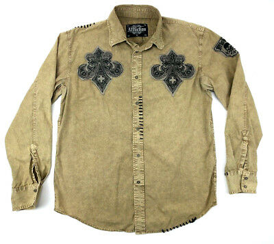 AFFLICTION Mens Crypsis American Custom Embroidered Patches Button Down Shirt