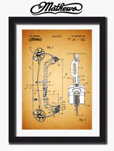 on art paper Mathews TX5 compound bow Patent print sketch