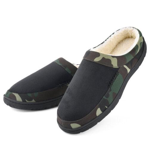 Men/'s Foam Slippers Wool-Like Plush House Outdoor Shoes Anti-Skid Sole