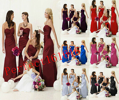 Sleeveless Satin Formal Prom/Bridesmaid Cocktail Party Evening Dress Size 2-18