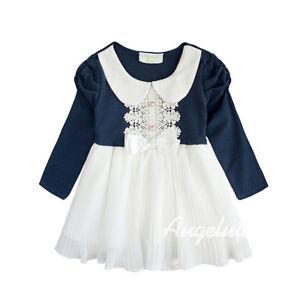 Baby-Girls-Long-Sleeve-Bodysuit-Peter-Pan-Collar-Dress-Navy-White-Size-0-1-2