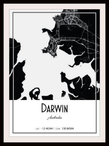 DARWIN CITY MAP POSTER PRINT MODERN CONTEMPORARY CITIES TRAVEL IKEA FRAMES