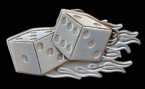 COOL-FLAMING-DICE-GAMBLING-BELT-BUCKLE-NEW