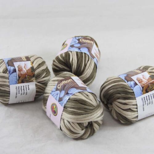 4 ballsx 50 g Chunky à Main en Coton Tricot Lisse spécial Wrap épais fil beigemocha