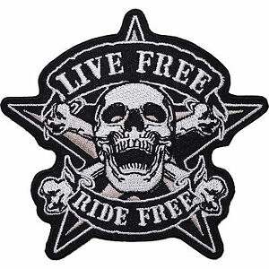 Live-Free-Ride-Free-Embroidered-Iron-Sew-On-Patch-Motorcycle-Jacket-Black-Badge