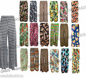New-Plus-Size-Womens-Floral-Print-Ladies-Wide-Leg-Palazzo-Trousers-Pants-10-26